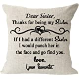 """Sister Gift Thanks for Be My Sister Cotton Linen Square Throw Waist Pillow Case Decorative Cushion Cover Pillowcase Sofa 18""""x"""