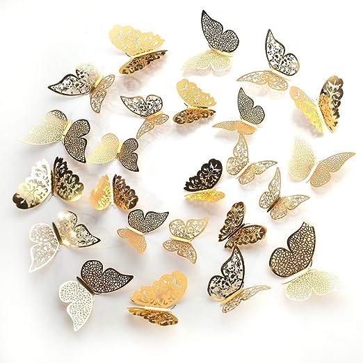 Flower Pattern 3D Butterflies Decals DIY Cardboard Decorations