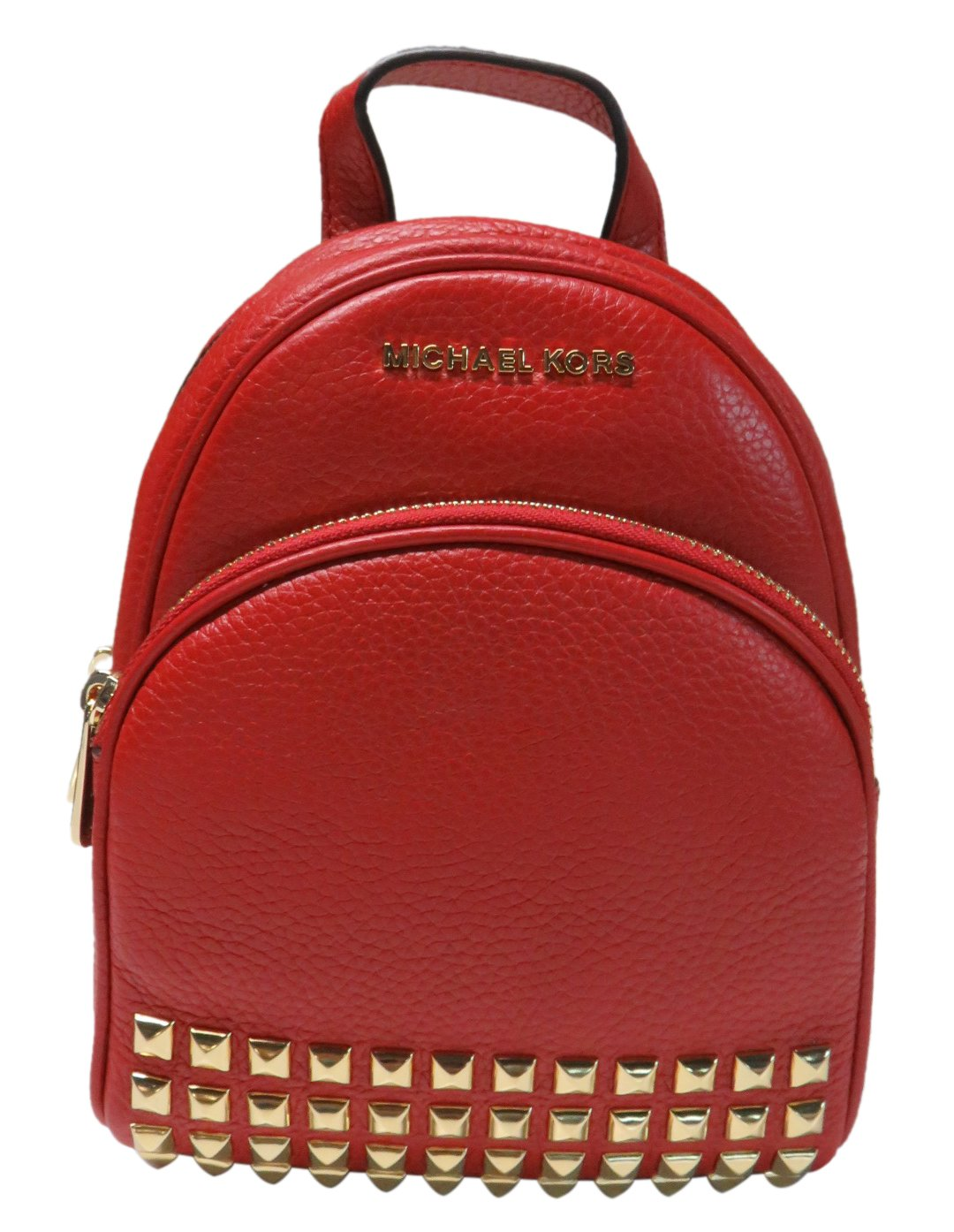 Michael Kors Abbey Extra Small Studded Leather Backpack Red