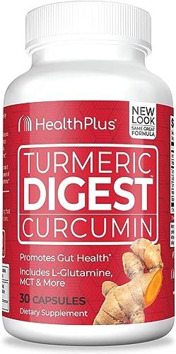 Health Plus Turmeric Digest – 95 Curcuminoids L. Glutamine MCT Bioperine – Dietary Supplement, Detox, Natural Herbal Ingredients 30 Capsules, 30 Servings