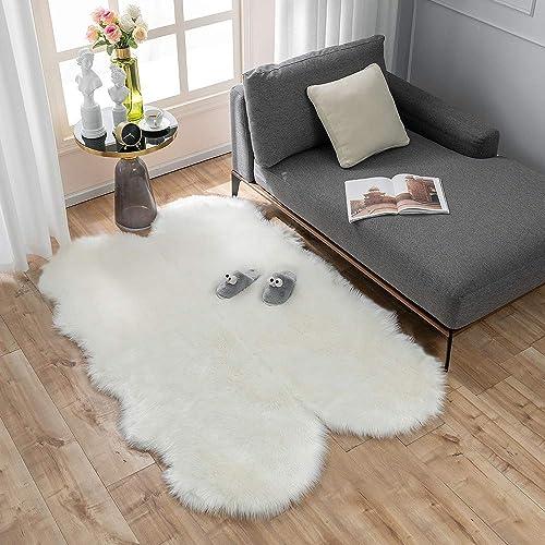 Carvapet Soft Fluffy Faux Sheepskin Fur Area Rug
