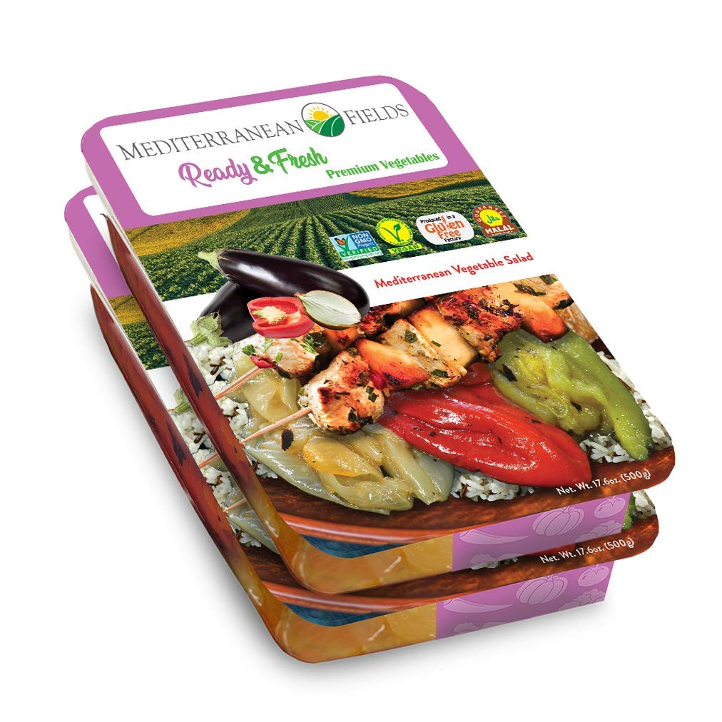 Ready Fresh Packaged Vegetables & Meals, Mediterranean Vegetable Salad - 2 Pack. All Natural, Vegan, Plant Based, Non GMO, Keto Friendly, and Gluten Free