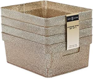 """Isaac Jacobs Small Glitter Storage Bin (10"""" x 7.5"""" x 4.25"""") Set w/Cut-Out Handles, Plastic Organizer, Multi-Functional, Home Storage Solution, Kids Playroom, Bedroom, Closet (4, Champagne)"""