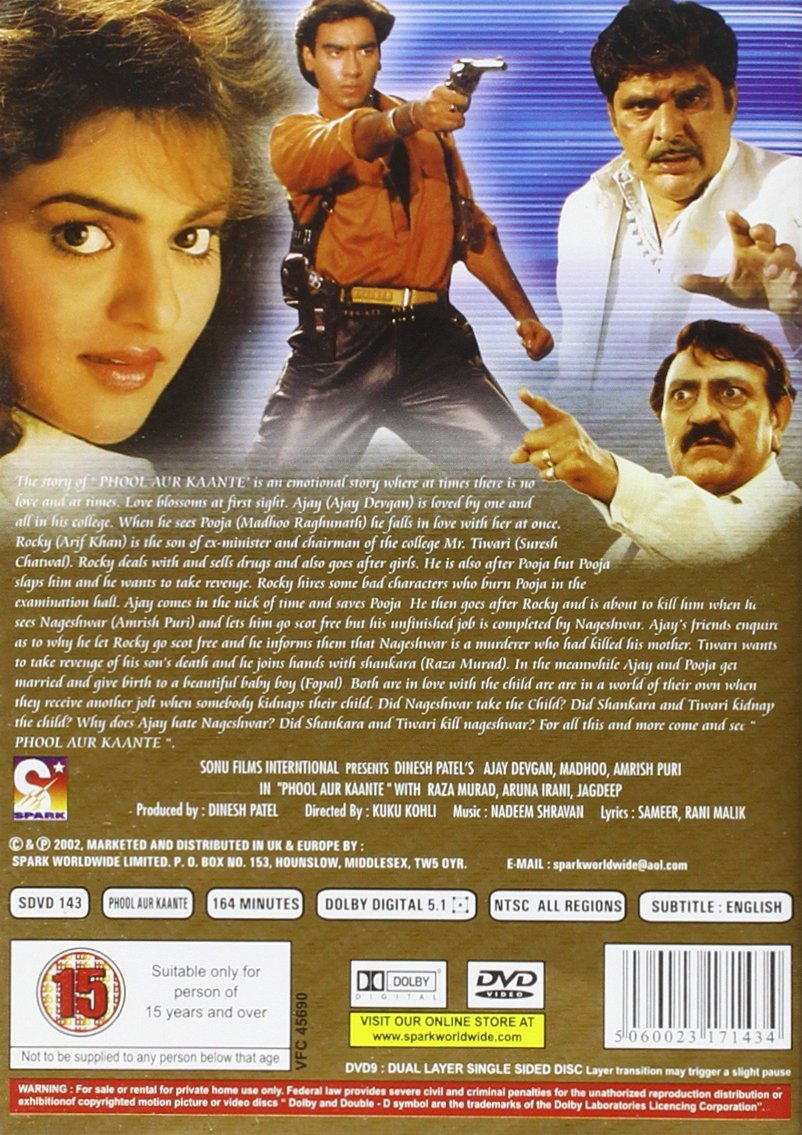 Amazon Com Phool Aur Kaante Dvd Ajay Devgan Madhoo Araf Khan