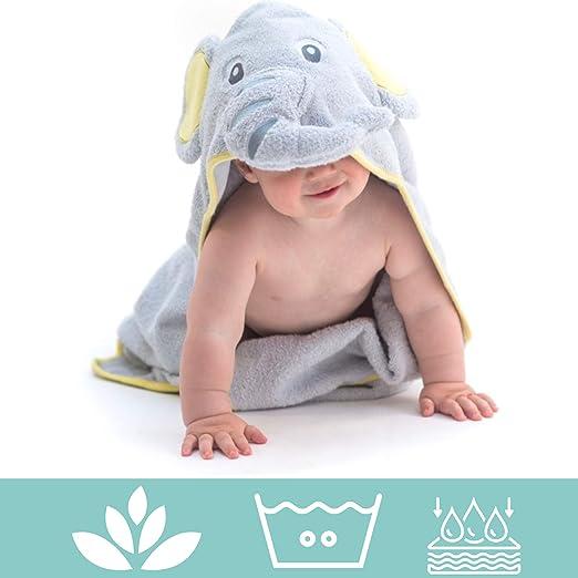 100/% coton b/éb/é serviette de bain les nouveau-n/és ou les nourrissons filles et gar/çon Little Tinkers World Serviette /à capuchon pour b/éb/é /él/éphant parfait cadeau f/ête danniversaire