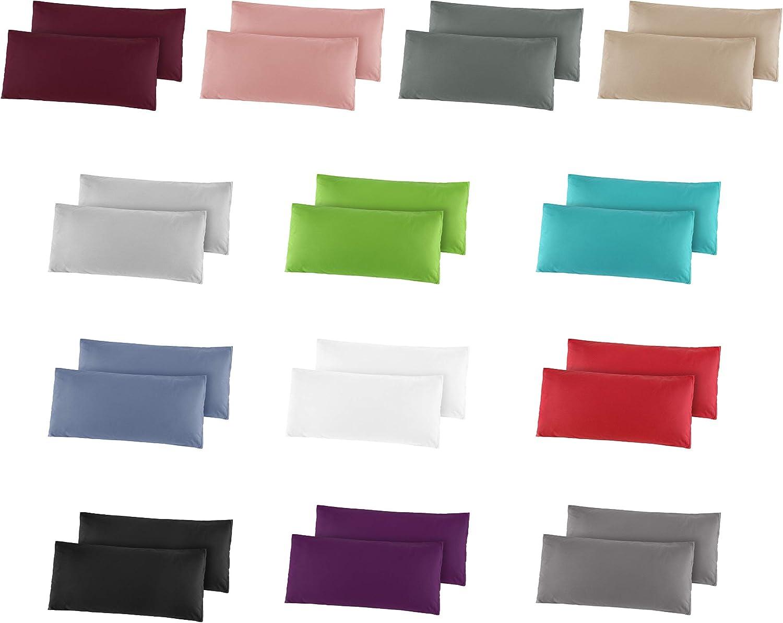 Kissenh/üllen 40x80 cm in 8 modernen Farben Lila 2er Pack Baumwolle Renforc/é Kissenbezug Kissenbez/üge
