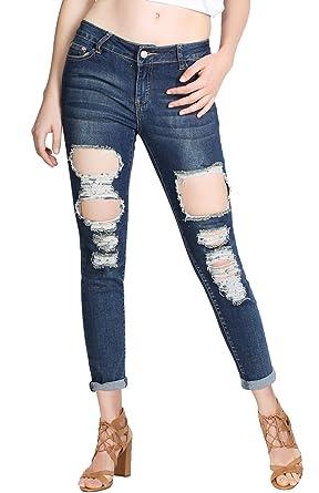 025d273c3e2d 2LUV Women's Distressed Five Pocket Semi Boyfriend Denim Jeans at Amazon  Women's Jeans store