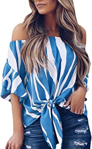 Aleumdr Women's Striped Off The Shoulder Flare Sleeve Blouses…