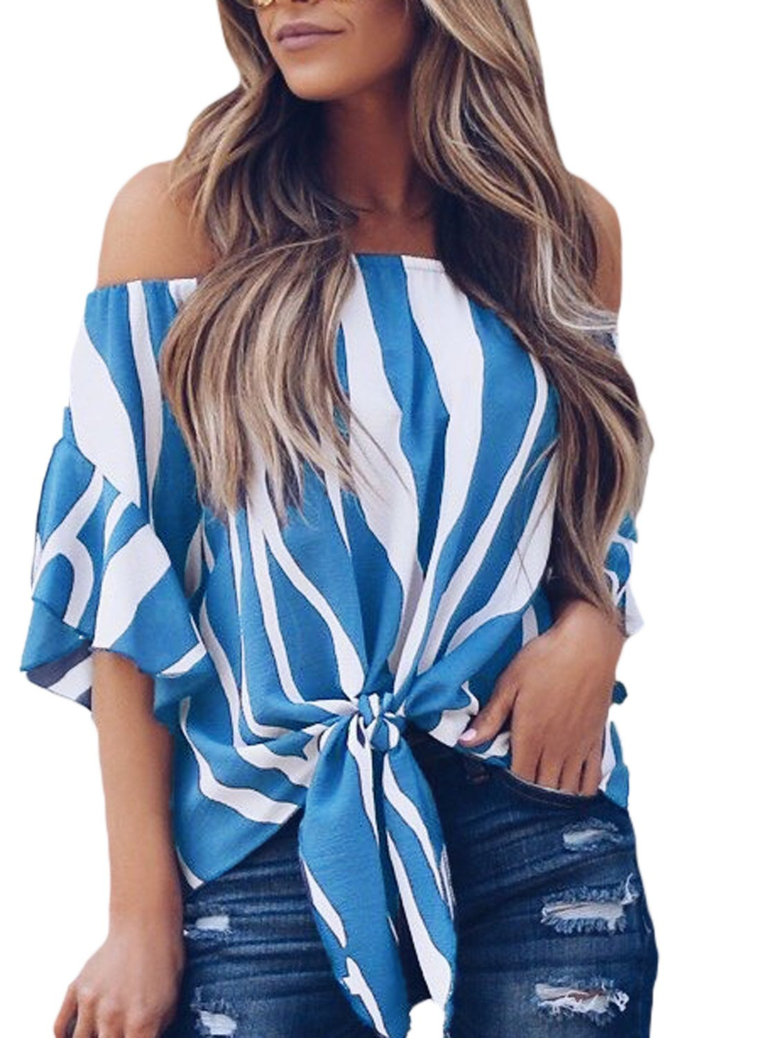 4087aad32a2421 Asvivid Women s Striped Off Shoulder Bell Sleeve Shirt Tie Knot Casual Blouses  Tops product image