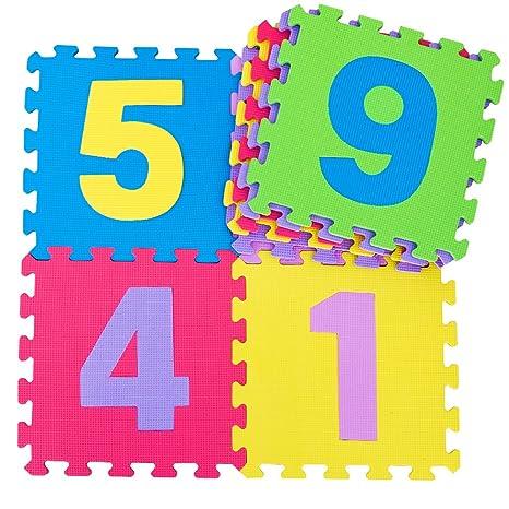 Bricobravo Tappetino Puzzle Con Numeri Pavimento Morbido Per Bambini