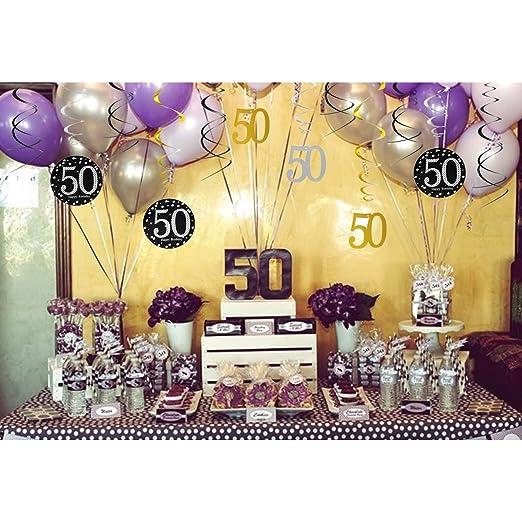 Konsait 50th Birthday Decoration Hanging Swirl 15 Counts Happy 50