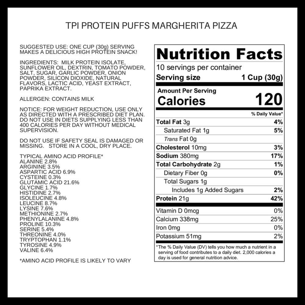 Twin Peaks Ingredients Protein Puffs - Margherita Pizza 300g (10 Servings), 21g Protein, 2g Carbs, 120 Cals, High Protein, Low Carb, Soy Free, Gluten Free, Potato Free - Best Protein Snack by Twin Peaks Ingredients (TPI) (Image #2)