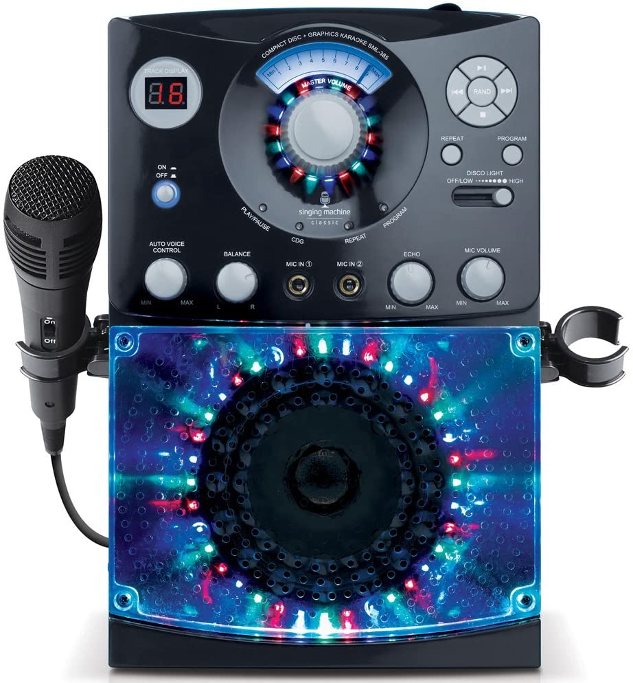 B001AW3UHC Singing Machine SML385BTBK Karaoke System with LED Disco Lights, CD+G, and Microphone, Black 71Y24WvSZLL