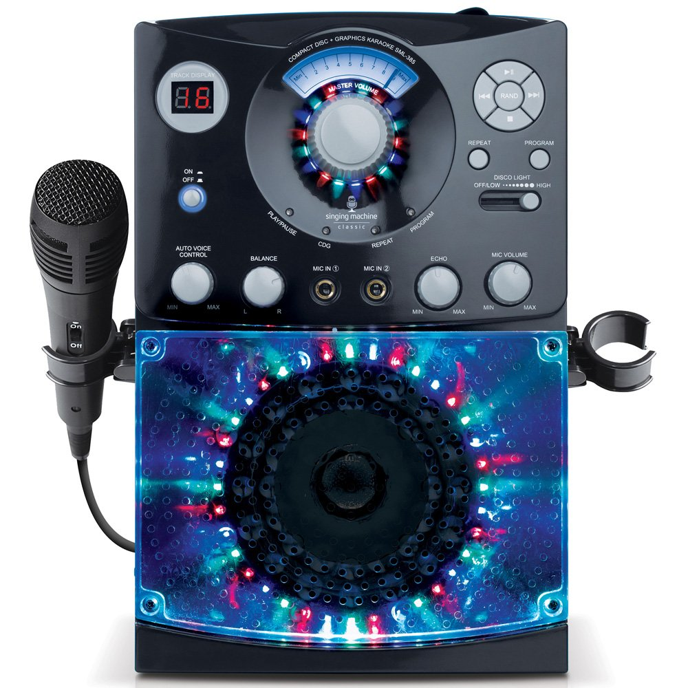 Singing Machine SML385BTBK Karaoke System with LED Disco Lights, CD+G, and Microphone, Black