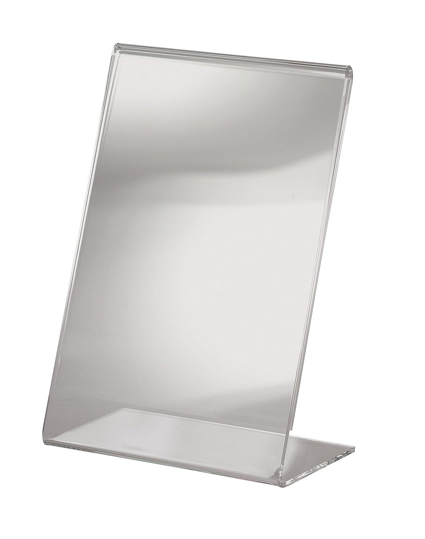 Sigel TA230 Porta-avvisi da tavolo / Porta-brochure da banco, con base a L, con tasca per biglietti da visita, acrilico, per A4
