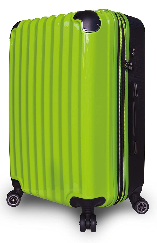 【JP Design】スーツケース 超軽量 拡張 ダブルキャスター 8輪 大型 キャリーケース キャリーバッグ B01MQPBIOC LMサイズ( 64L~75L)|グリーン/BK グリーン/BK LMサイズ( 64L~75L)