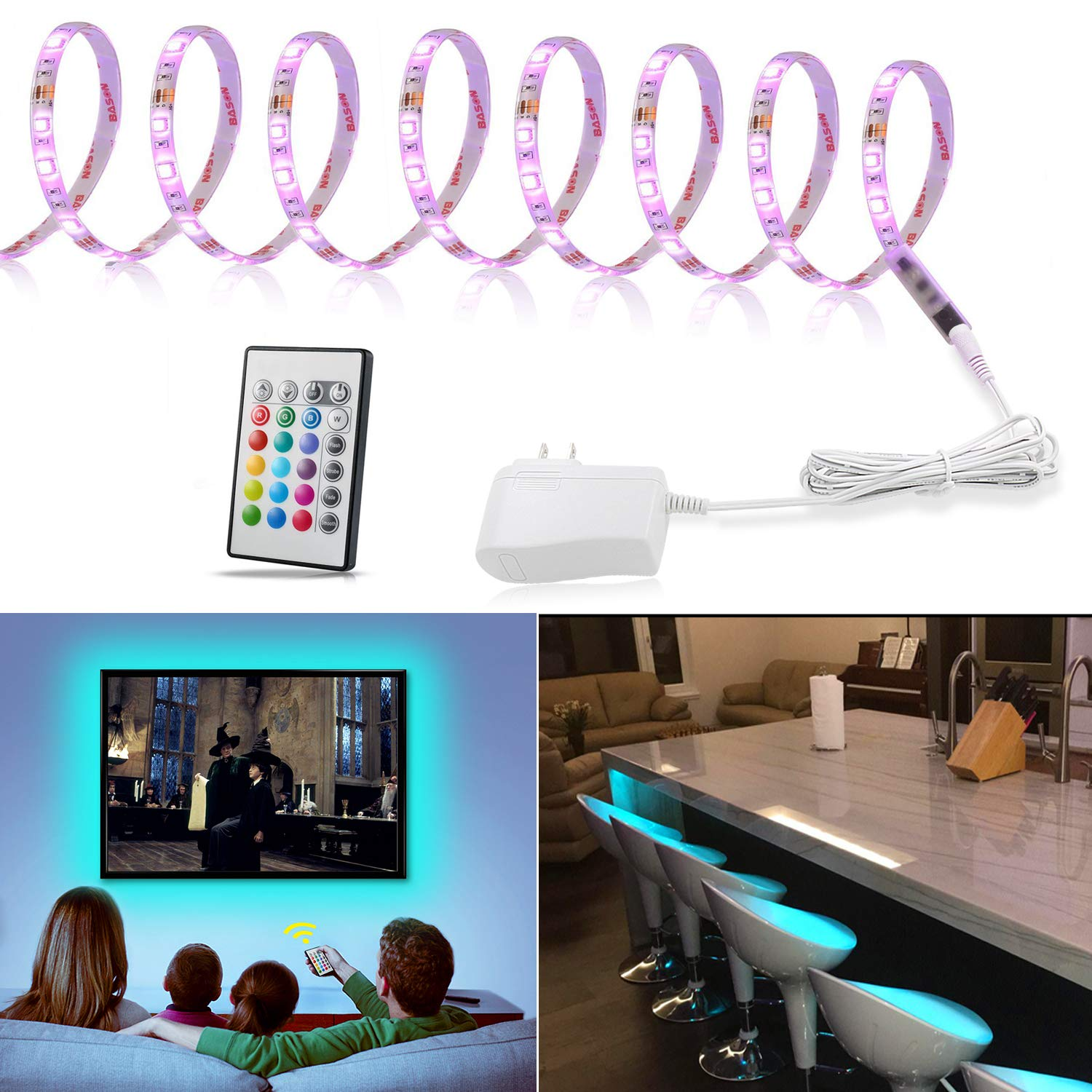 LED Strip Light 9.8ft, TV Bias Lighting for 50 to 75 inch HDTV, Multicolor Light Strip with Remote and 12V Adapter, RGB Backlight for Under Cabinet,Shelf,Kitchen,Home Theater, 3 Meter Color Changing