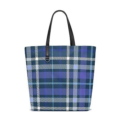 065d976b1c Women Shoulder Bag Blue Buffalo Plaid Checks Purse Shopper Tote ...