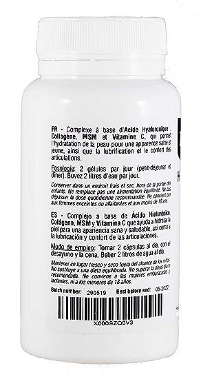 Ácido Hialurónico y Colágeno Complex con MSM y Vitamina C, 60 cápsulas, para combatir los efectos de la edad y tener una piel y articulaciones fuertes ...