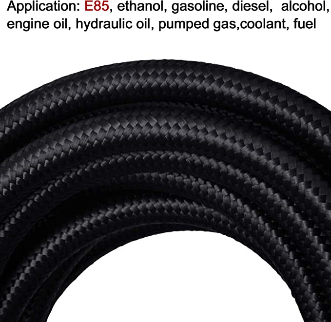 AN8 AN 8 90 Degree Black Hose Fitting For Braided And Nylon Fuel Hose New