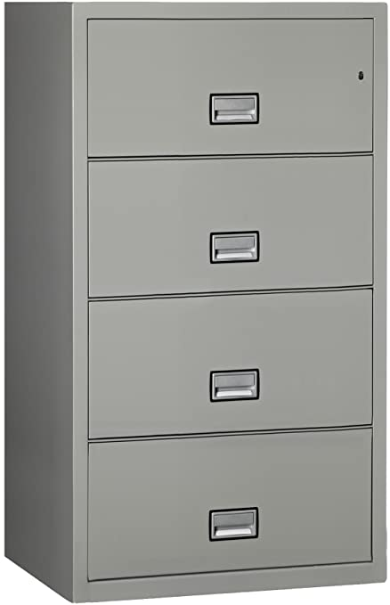 Charmant Phoenix Lateral 31 Inch 4 Drawer Fireproof File Cabinet   Light Gray