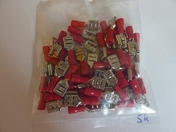 Profitec 50 Stück Kabelschuh Flachsteckhülse 6 4 Mm Rot Elektronik