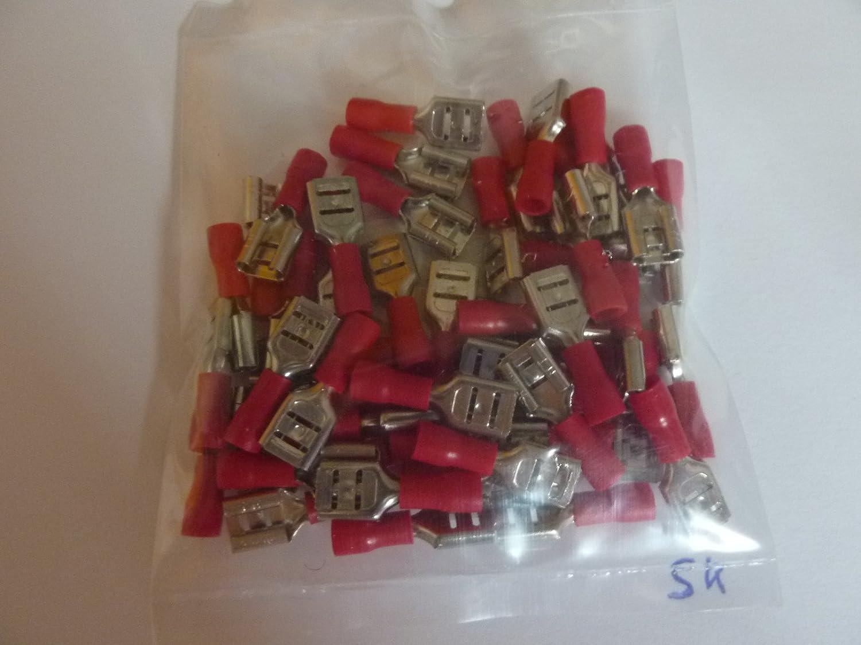 50 Stück Kabelschuhe Flachsteckhülse 6, 4 mm rot für Kabel 0, 5mm² - 1, 5 mm ² profitec FDD 125250