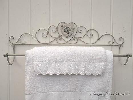 Porta Asciugamani Bagno Shabby : Grande larghezza 56 cm vintage shabby chic cuore grigio porta