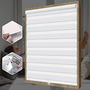 """SEEYE Free-Stop Cordless Zebra Roller Blinds Horizontal Window Shade Dual Layer Sheer Privacy Day and Night Curtains Easy to Install Greyish White, 69"""" W × 72"""" H"""