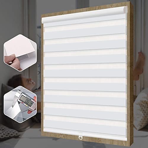 SEEYE Free-Stop Cordless Zebra Roller Blinds Horizontal Window Shade Dual Layer Sheer Privacy Day and Night Curtains Easy to Install Greyish White