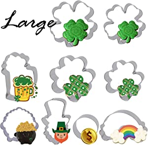 Bonropin 9PCS St. Patrick's Day Cookie Cutters Set Large Size Included Shamrock,Four Leaf Clover,beer mug,Coin, Leprechaun's head shapes,Pot of Gold,Rainbow