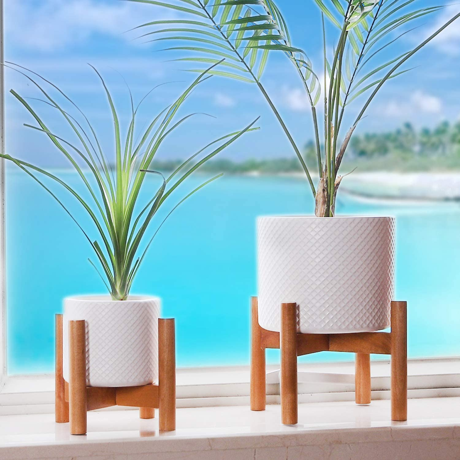 Indoor Mid Century Ceramic Plant Pots with Wood Planter Stands, 7 & 4.7 inch Dia inch White Large & Small Decorative Flower Pots for Home Decor Tabletop Outdoor Garden (Set of 2)