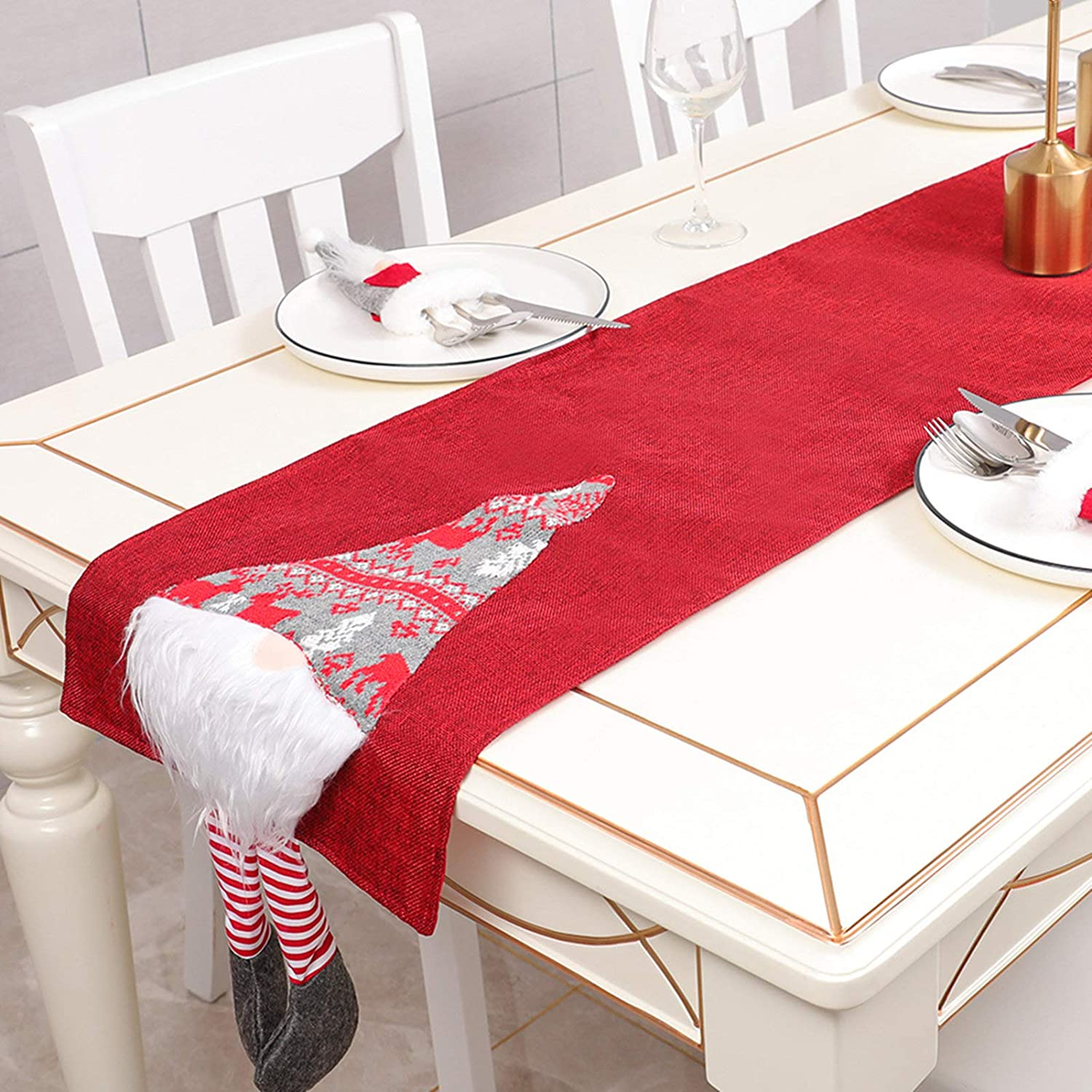 Cartoon Faceless Doll Home Christmas decor Table Flag Linen Tablecloth Table Runner New Year WAS £34.99 NOW £17.49 w/code AFMT3IZQ @ Amazon