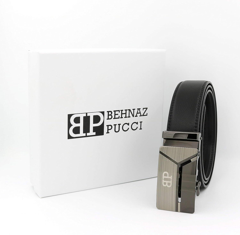 BLACK Behnaz Pucci BP-MB05 Genuine Calf Leather Men Belt