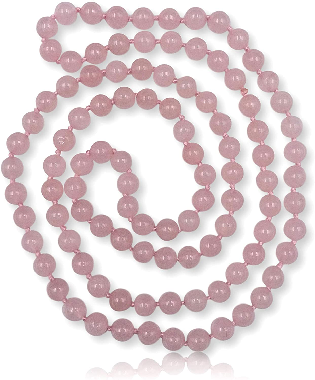 MGR MY GEMS ROCK! 36 Inch 8MM Polished Genuine Semi-Precious Stone Endless Infinity Long Beaded Strand Necklace.
