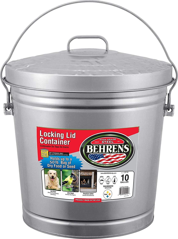 Behrens-FBA-High-Grade-6110-10-Gal-Silver-Galvanized-Steel-Dry-Storage-Can-W/Locking-Lid