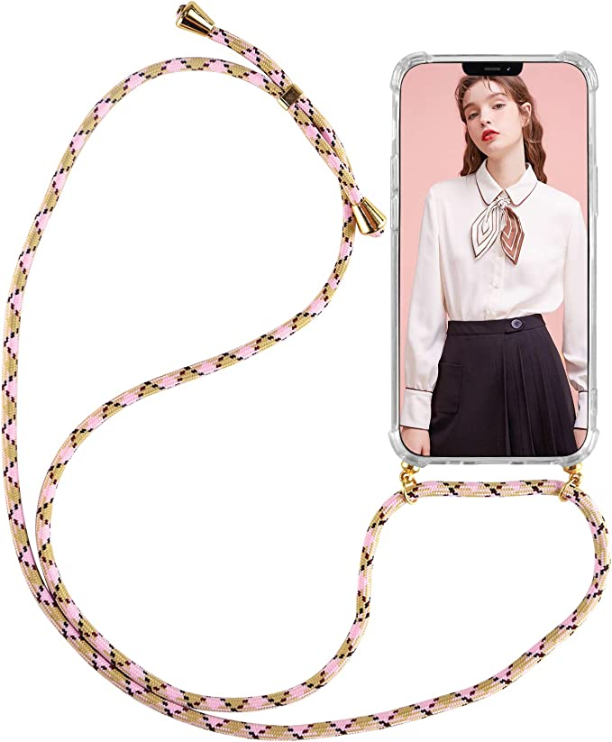 Clear Transparent TPU Soft Case Necklace Phone Cover with Cord Lanyard Adjustable Length Phone Chain//Neck Strap Pink Newseego Compatible with iPhone 12 //iPhone 12 Pro Case with Cord Lanyard Strap