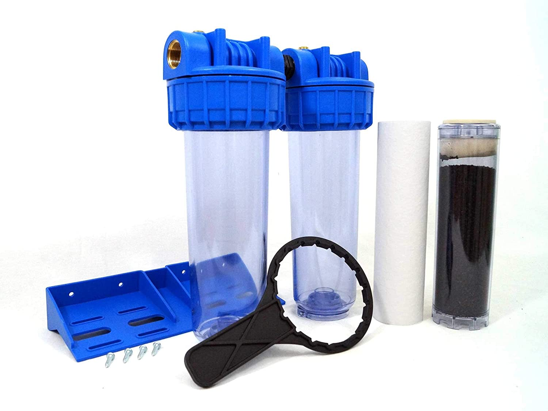 Double Door Water Filter 9  3 4-20 27F with Cartridge 20μm + AC