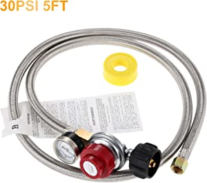 """Aupoko 0-30 PSI High Pressure Adjustable Propane Regulator with Stainless Steel Braided Hose& Gauge, 60'' Hose QCC1/Type1 to 3/8"""" Female Flare, for BBQ Fire Pit Gas Stove Forge Smoker Turkey Fryer"""