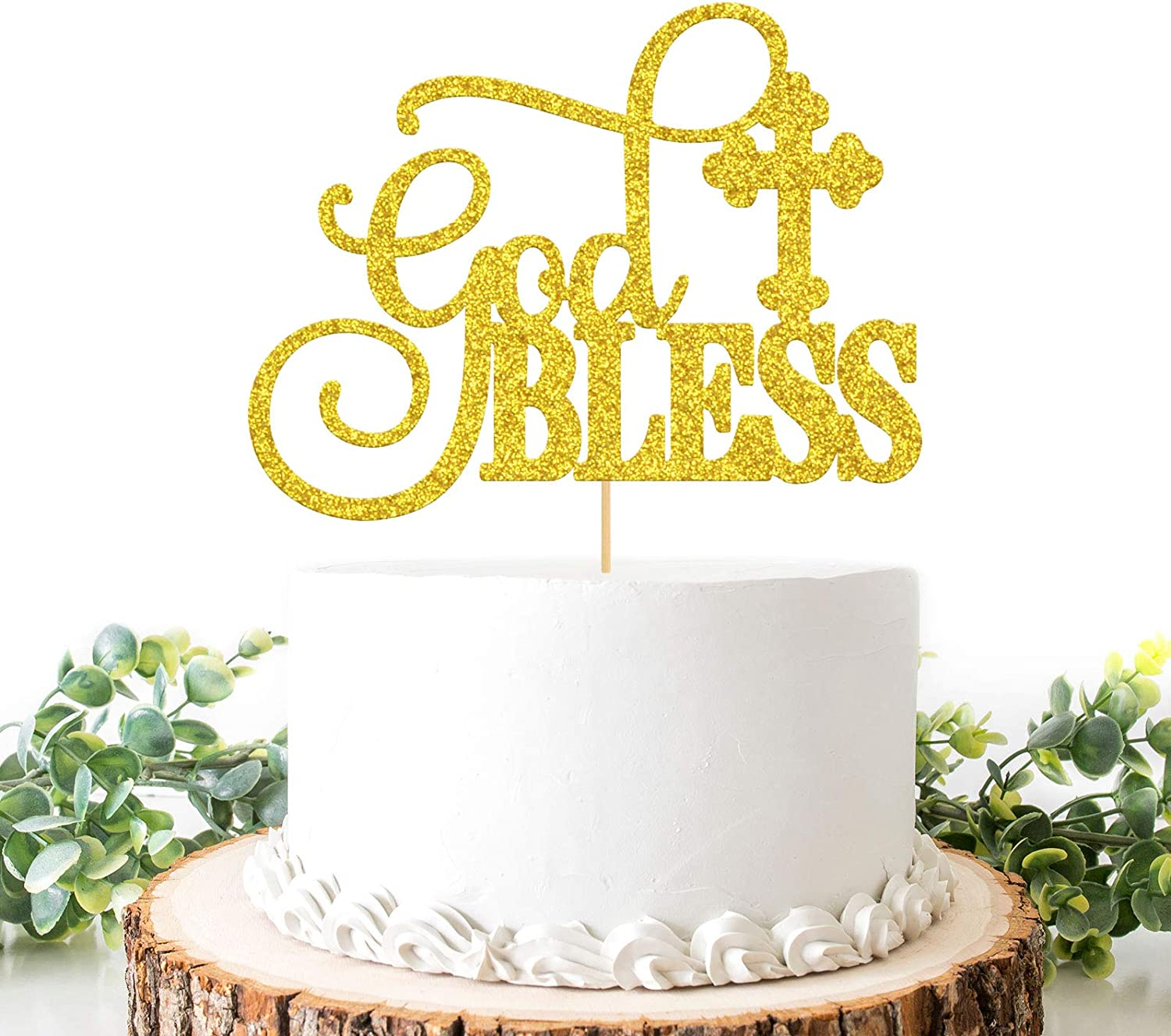 Helewilk God Bless Cake Topper, Gold Glitter Christening First Communion Cake Decor, Boy or Girl Baby Shower / Wedding / Engagement Party Supplies