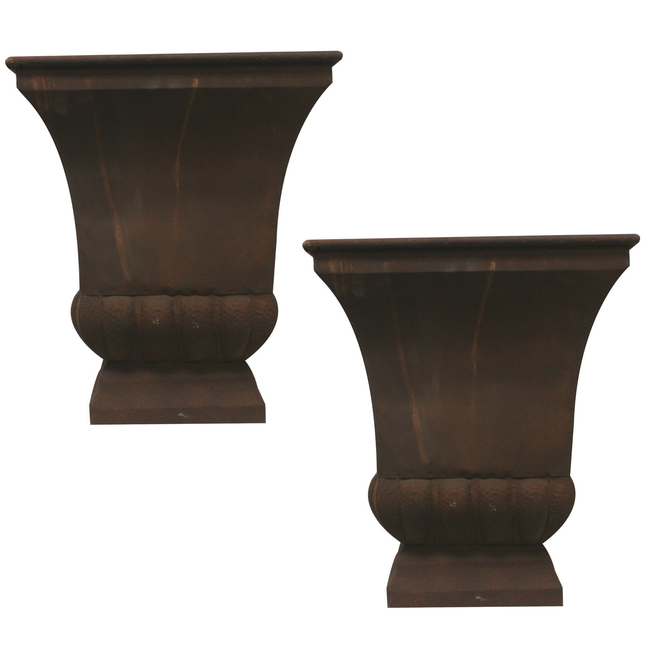 Gardman 8225 Large Rustic Metal Urn Planter, 15.75'' Long x 15.75'' Wide x 18'' High (2)