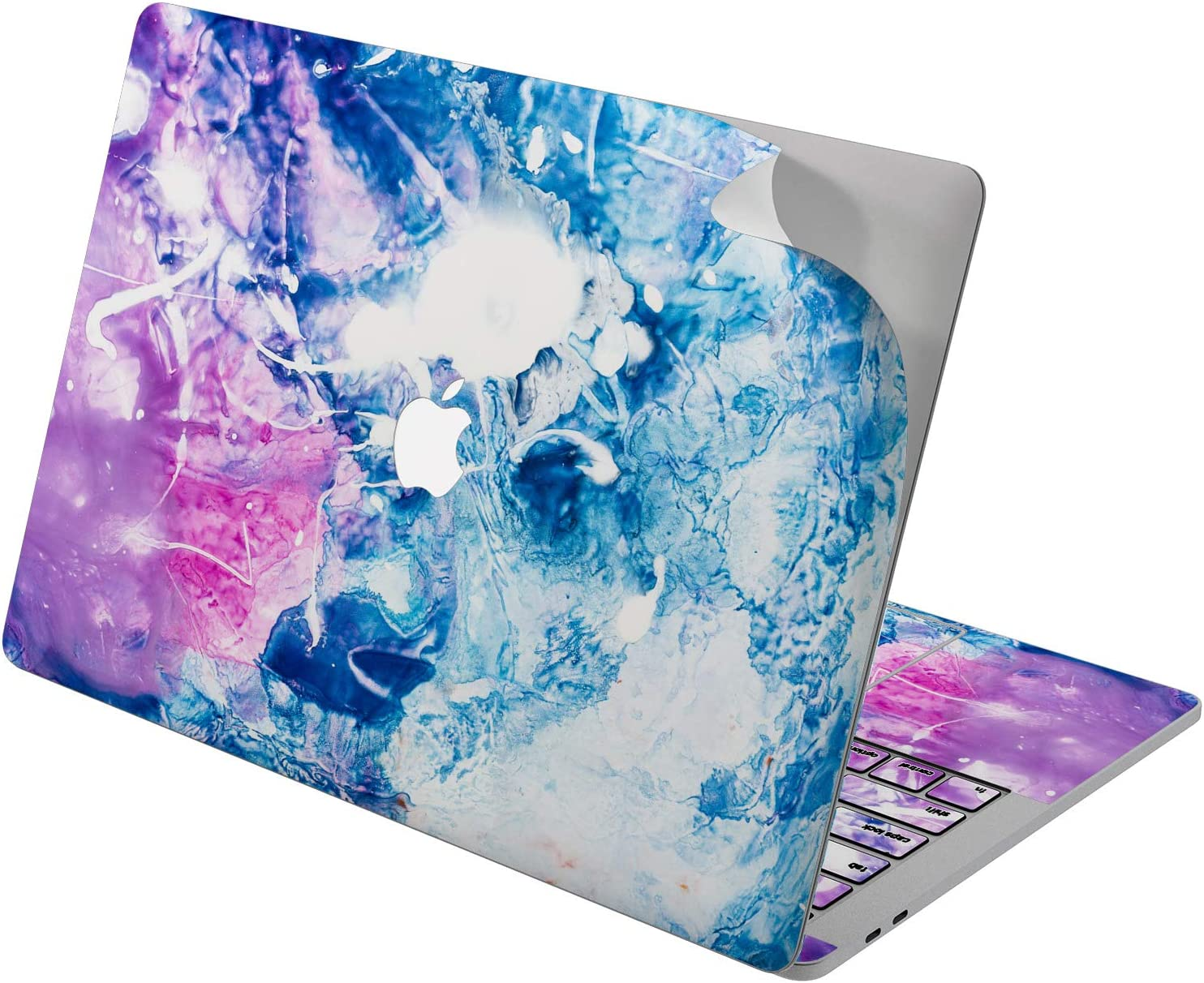 "Cavka Vinyl Decal Skin for Apple MacBook Pro 13"" 2019 15"" 2018 Air 13"" 2020 Retina 2015 Mac 11"" Mac 12"" Abstract Trendy Laptop Print Protective Cover Painting Blue Design Pattern Pink Modern Sticker"