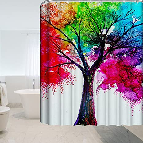Multi Tree Printing Shower Curtain Bathroom Waterproof Extra Long 180X180cm New
