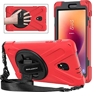 BRAECNstock Galaxy Tab A 8.0 Inch 2017 Case, Three Layer Drop Protection Rugged Protective Heavy Duty Case with 360 Degrees Rotatable Stand Cover for Samsung Galaxy Tab A 8.0(NEW)SM-T380/T385 Case Red