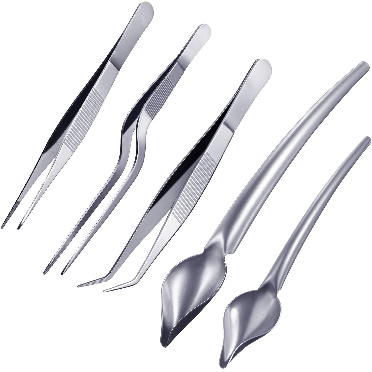 Boao 5 Pieces Stainless Steel Cooking Tweezers Precision Tongs with Precision Serrated Tips and Multi-use Decor Precision Culinary Drawing Spoons for Plates Decorating