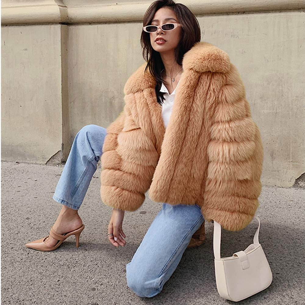 Rvxigzvi Womens Faux Fur Coat Plus Size Parka Jacket Long Trench Winter Warm Thick Outerwear Overcoat US XS 4XL