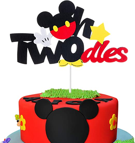 Fantastic Amazon Com Mallmall6 Mickey Two Birthday Cake Topper Twodles Birthday Cards Printable Trancafe Filternl
