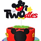 MALLMALL6 Mickey Two Birthday Cake Topper Twodles Mickey Birthday Party Supplies Cute Cake Decorations Two Years Old…