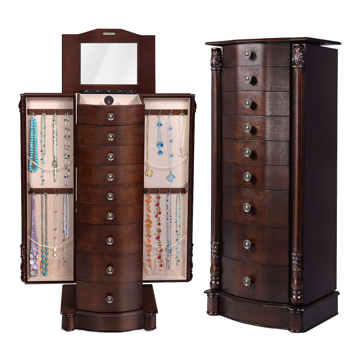 Giantex Wood Jewelry Cabinet Armoire Box Storage Chest Stand Organizer Necklace