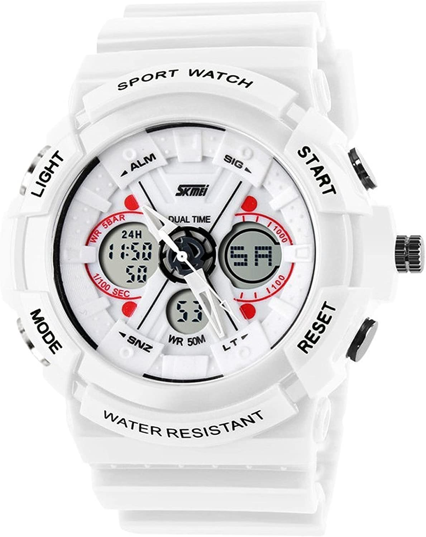 Fanmis Unisex Sport Watch Analog/Digital Dual Time Multifunction Alarm Led Wristwatch White